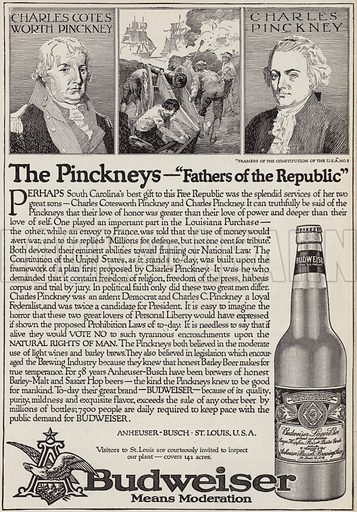 The story of Charles Cotesworth Pinckney (1746-1825) and Charles Pinckney (1757-1824), Fathers of the Republic, advertisement for Budweiser beer. Illustration for Judge's Magazine, 1915.