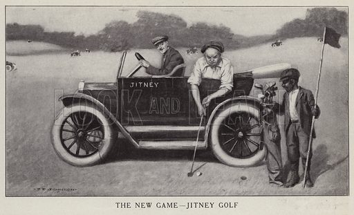 Man playing golf from inside a jitney (taxi). Illustration for Judge's Magazine, 1915.
