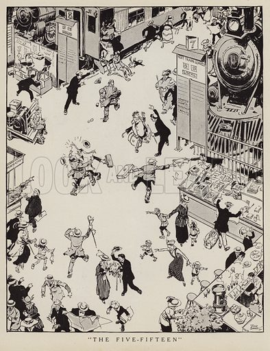 Commuters rushing to catch the 5.15 train about to leave the station. Illustration for Judge's Magazine, 1915.