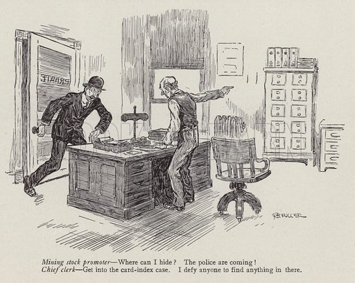 Mining stock promoter running away from the police. Illustration for Judge's Magazine, 1915.