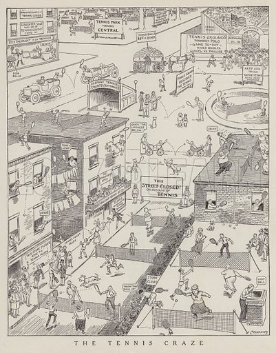 A tennis craze takes over the streets. Illustration for Judge's Magazine, 1915.