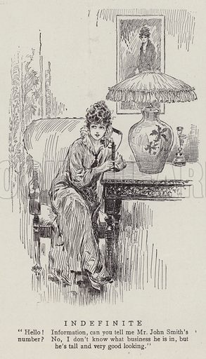 Woman ringing the operator for a man's phone number. Illustration for Judge's Magazine, 1915.