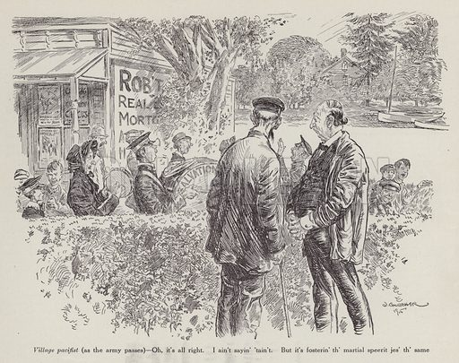 Two men watching the Salvation Army pass through the village. Illustration for Judge's Magazine, 1915.