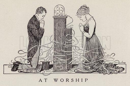 Couple worshipping a telegraph machine. Illustration for Judge's Magazine, 1915.