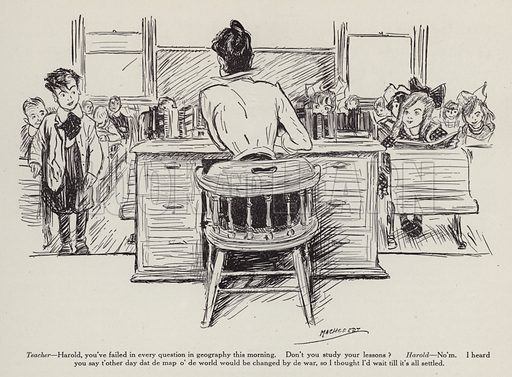 Teacher and her pupils in a geography class. Illustration for Judge's Magazine, 1915.