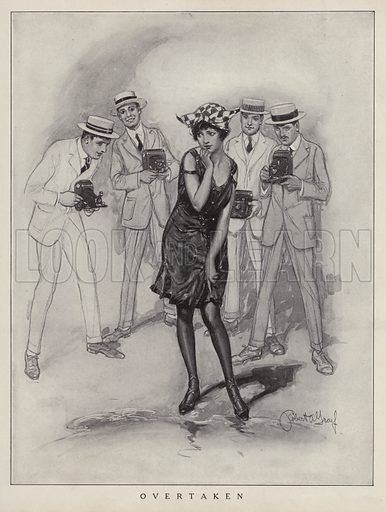Woman suffering the unwanted attention of several male photographers. Illustration for Judge's Magazine, 1915.