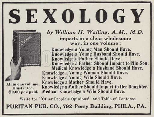 Advertisement for a book, Sexology, by William H Walling. Illustration for Judge's Magazine, 1915.
