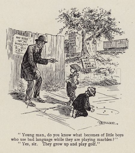Boys being told off for swearing while playing marbles. Illustration for Judge's Magazine, 1915.