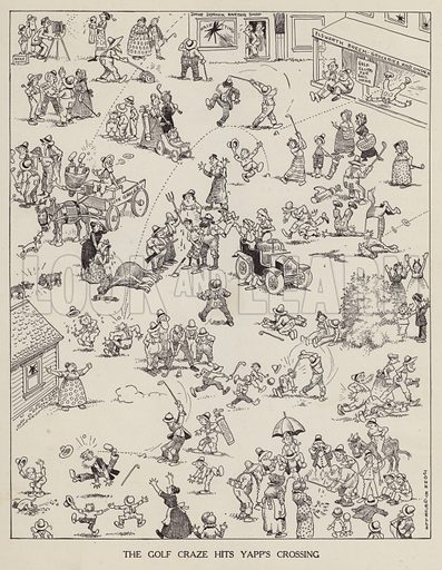 Golf craze comes to Yapp's Crossing. Illustration for Judge's Magazine, 1915.
