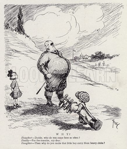 Fat man on the golf course as a little boy carries his clubs. Illustration for Judge's Magazine, 1915.