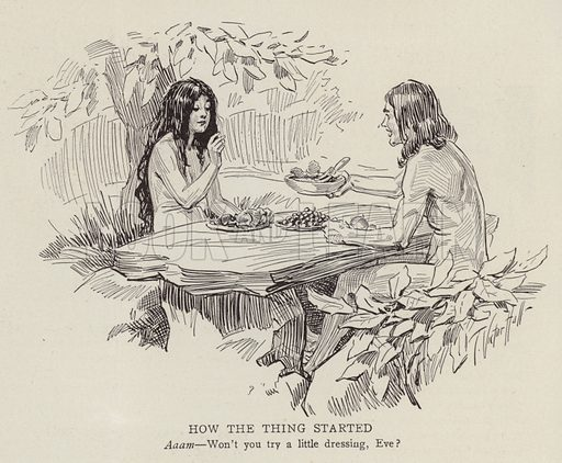 Adam and Eve in the garden of Eden. Illustration for Judge's Magazine, 1915.