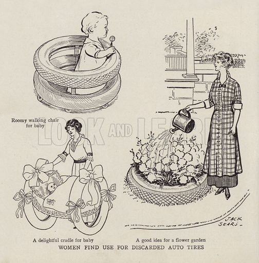 Women finding uses for discarded car tyres. Illustration for Judge's Magazine, 1915.