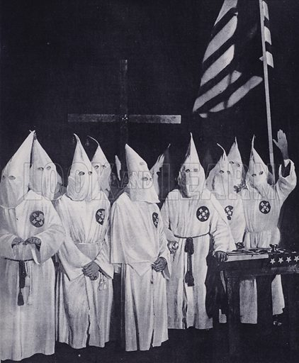 Initiation of new members of the Ku Klux Klan, near Baltimore, Maryland, USA Illustration from The Illustrated London News, 3 February, 1923.