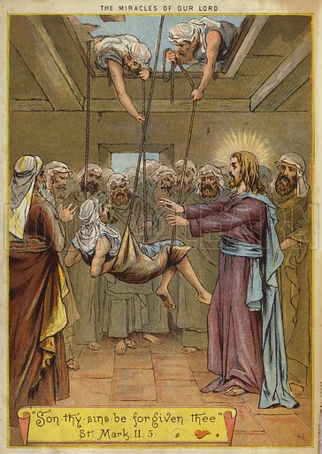 The Miracles of Christ: healing of the paralysed man at Capernaum. Illustration from The Little One's Own Coloured Picture Paper (Dean and Son, c1890).