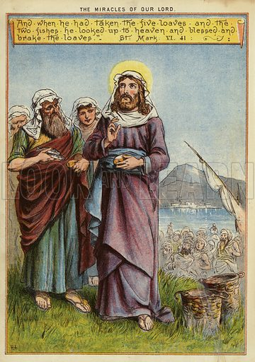 The Miracles of Christ: the feeding of the five thousand. Illustration from The Little One's Own Coloured Picture Paper (Dean and Son, c1890).