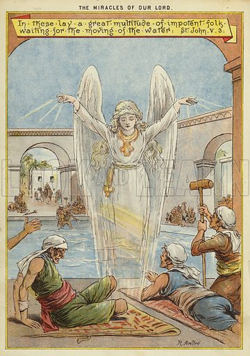 The Miracles of Christ: sick people waiting for the moving of the water by an angel. Illustration from The Little One's Own Coloured Picture Paper (Dean and Son, c1890).