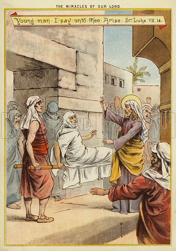 The Miracles of Christ: resurrection of a widow's son. Illustration from The Little One's Own Coloured Picture Paper (Dean and Son, c1890).
