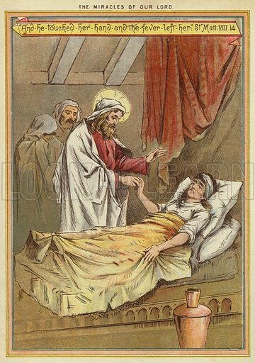 The Miracles of Christ: curing Peter's mother-in-law of fever. Illustration from The Little One's Own Coloured Picture Paper (Dean and Son, c1890).