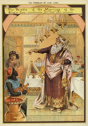 The Parables of Christ: The Parable of the Wedding Banquet. Illustration from The Little One's Own Coloured Picture Paper (Dean and Son, c1890).