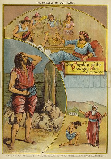 The Parables of Christ: The Parable of the Prodigal Son. Illustration from The Little One's Own Coloured Picture Paper (Dean and Son, c1890).