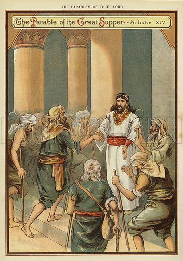 The Parables of Christ: The Parable of the Great Supper. Illustration from The Little One's Own Coloured Picture Paper (Dean and Son, c1890).