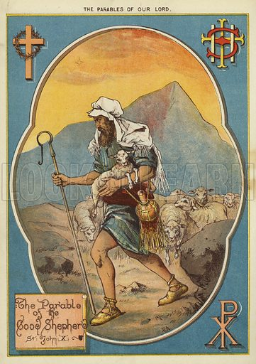 The Parables of Christ: The Parable of the Good Shepherd. Illustration from The Little One's Own Coloured Picture Paper (Dean and Son, c1890).