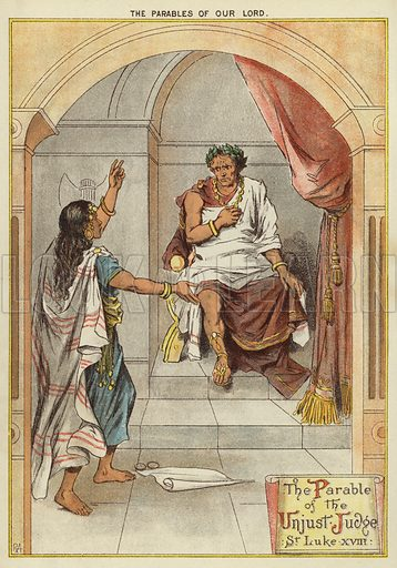 The Parables of Christ: The Parable of the Unjust Judge. Illustration from The Little One's Own Coloured Picture Paper (Dean and Son, c1890).