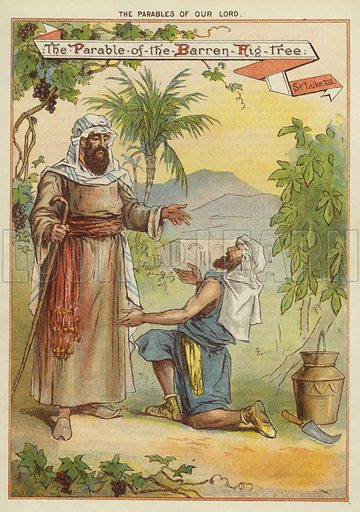 The Parables of Christ: The Parable of the Barren Fig Tree. Illustration from The Little One's Own Coloured Picture Paper (Dean and Son, c1890).