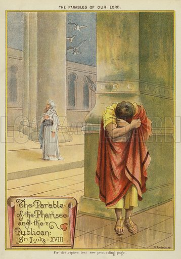 The Parables of Christ: The Parable of the Pharisee and the Tax Collector. Illustration from The Little One's Own Coloured Picture Paper (Dean and Son, c1890).