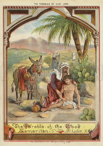 The Parables of Christ: The Parable of the Good Samaritan. Illustration from The Little One's Own Coloured Picture Paper (Dean and Son, c1890).