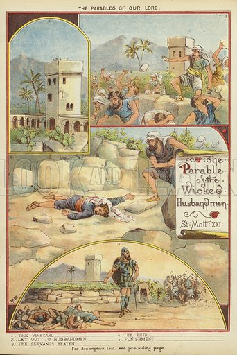 The Parables of Christ: The Parable of the Tenants. Illustration from The Little One's Own Coloured Picture Paper (Dean and Son, c1890).