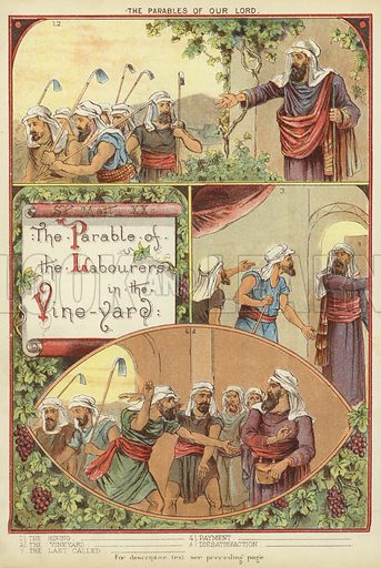 The Parables of Christ: The Parable of the Workers in the Vineyard. Illustration from The Little One's Own Coloured Picture Paper (Dean and Son, c1890).