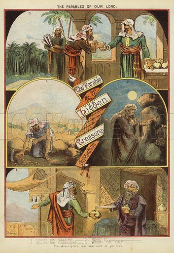 The Parables of Christ: The Parable of Hidden Treasure. Illustration from The Little One's Own Coloured Picture Paper (Dean and Son, c1890).