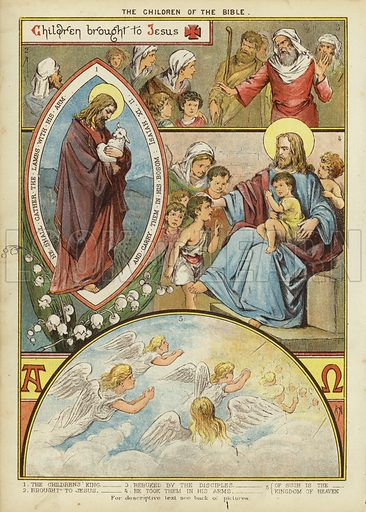 The Children of the Bible: Children brought to Jesus. Illustration from The Little One's Own Coloured Picture Paper (Dean and Son, c1890).