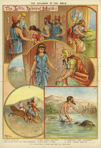 The Children of the Bible: The Little Hebrew Maid. Illustration from The Little One's Own Coloured Picture Paper (Dean and Son, c1890).