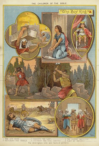 The Children of the Bible: The Boy King. Illustration from The Little One's Own Coloured Picture Paper (Dean and Son, c1890).