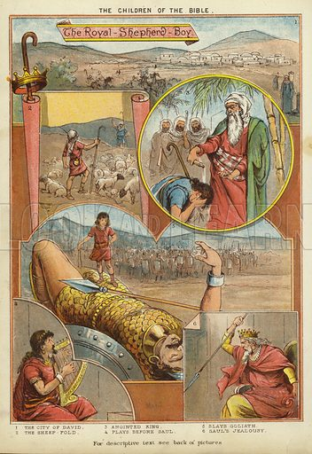 The Children of the Bible: The Royal Shepherd Boy. Illustration from The Little One's Own Coloured Picture Paper (Dean and Son, c1890).