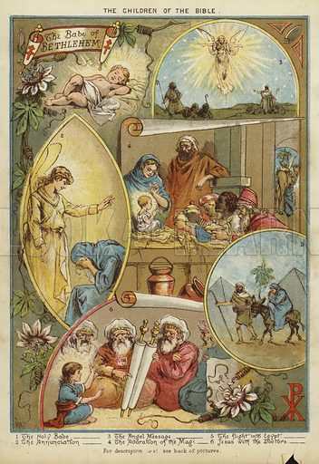 The Children of the Bible: The Birth of Jesus Christ. Illustration from The Little One's Own Coloured Picture Paper (Dean and Son, c1890).