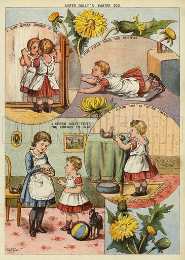Sister Dolly's Easter Egg. Illustration from The Little One's Own Coloured Picture Paper (Dean and Son, c1890).