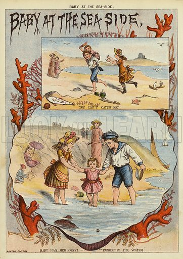 Baby at the seaside. Illustration from The Little One's Own Coloured Picture Paper (Dean and Son, c1890).