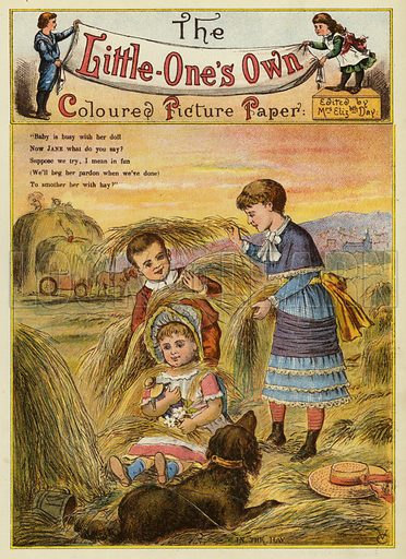 Children in the hay. Illustration from The Little One's Own Coloured Picture Paper (Dean and Son, c1890).