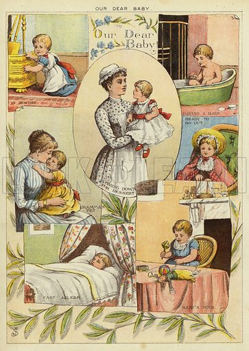 Our dear baby. Illustration from The Little One's Own Coloured Picture Paper (Dean and Son, c1890).