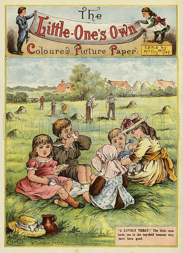 Children having a picnic in the hay field. Illustration from The Little One's Own Coloured Picture Paper (Dean and Son, c1890).