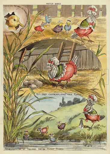 Water babies. Illustration from The Little One's Own Coloured Picture Paper (Dean and Son, c1890).