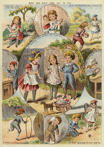 Boys and girls come out to play. Illustration from The Little One's Own Coloured Picture Paper (Dean and Son, c1890).