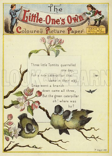 Bluetits and verse. Illustration from The Little One's Own Coloured Picture Paper (Dean and Son, c1890).