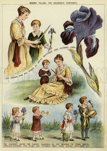 Mamma telling the children's fortunes. Illustration from The Little One's Own Coloured Picture Paper (Dean and Son, c1890).