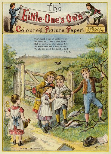 Children with a bird's nest. Illustration from The Little One's Own Coloured Picture Paper (Dean and Son, c1890).