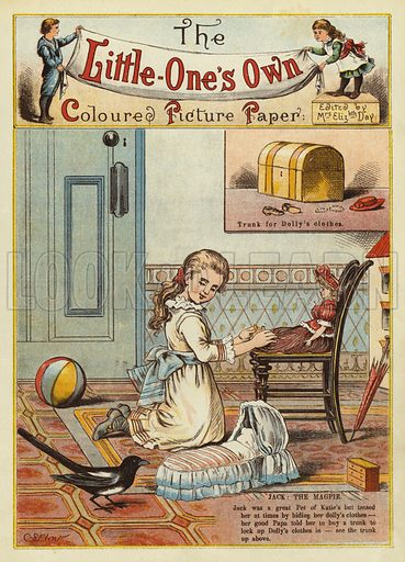 Girl with a magpie. Illustration from The Little One's Own Coloured Picture Paper (Dean and Son, c1890).