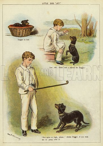 Boy with his pet dog, Jet. Illustration from The Little One's Own Coloured Picture Paper (Dean and Son, c1890).